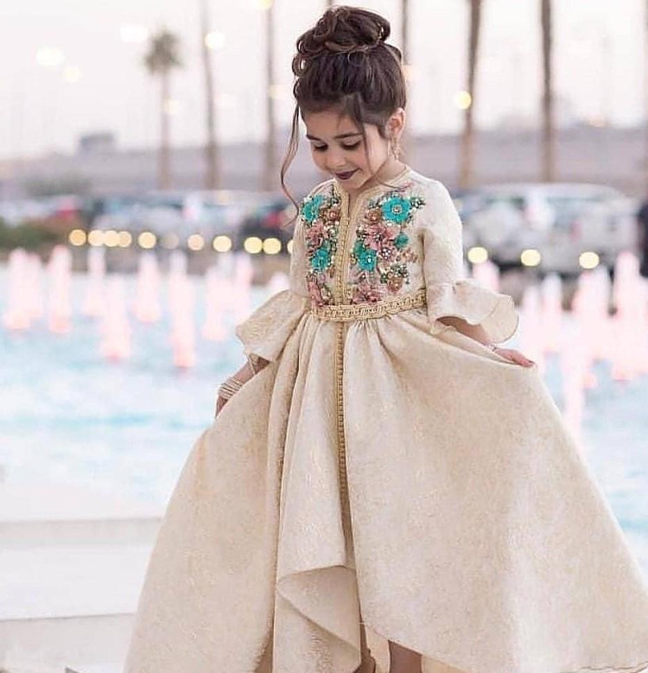 Robe caftan pour petite fille dentelle