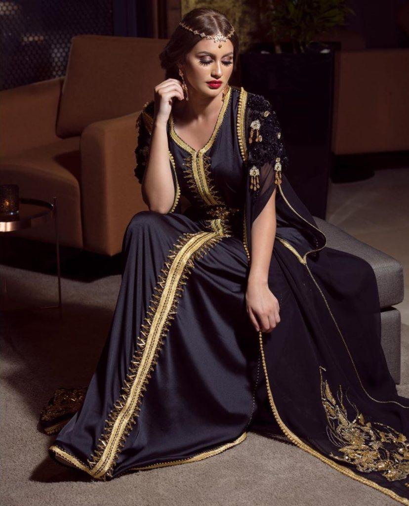 Caftan marocain pas cher en mousseline de soie
