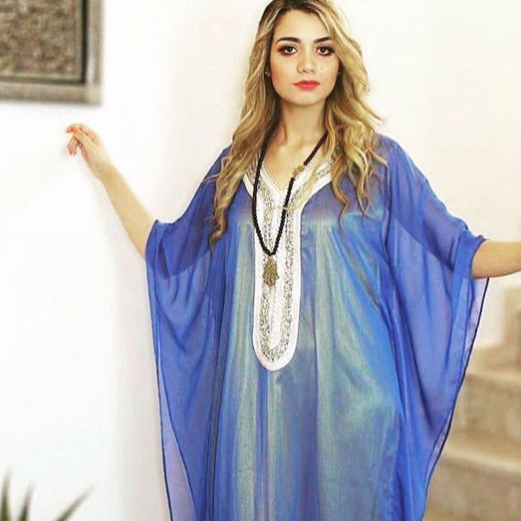 Gandoura femme moderne bleue